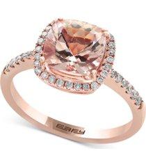 effy blush morganite (1-5/8 ct. t.w.) and diamond (1/4 ct. t.w.) ring in 14k rose gold