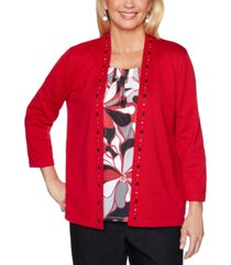 alfred dunner petite layered-look well red sweater