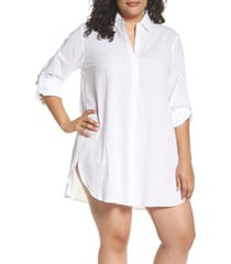 plus size women's tommy bahama boyfriend shirt cover-up, size 2x - white