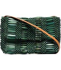 aranaz beaded wood shoulder bag - green