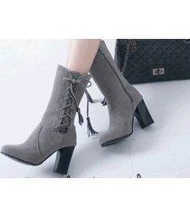 pb176 sweet lace up.zipper knight booties, block heels, us size 3-10.5, gray