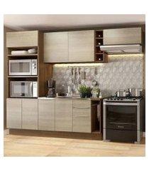 cozinha completa madesa stella 290002 com armário e balcão rustic/saara cor:rustic/saara