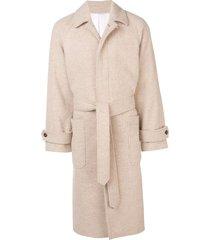 ami paris raglan sleeves belted long coat - neutrals