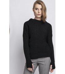 sweter asymetryczny półgolf czarny