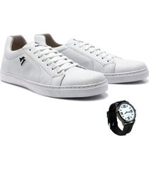 sapatênis polo north masculino confortável casual + relógio - masculino