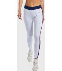 calza reebok cl f linear legging gris - calce ajustado