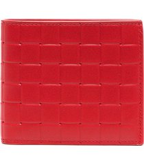 bottega veneta intrecciato leather wallet - red
