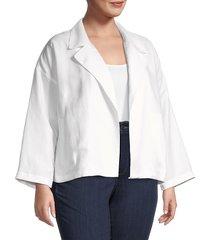 eileen fisher women's plus linen-blend open front jacket - black - size 1x (14-16)