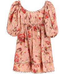 zimmermann cassia mini dress in floral linen