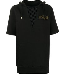 versace jeans couture mesh panel hoodie - black