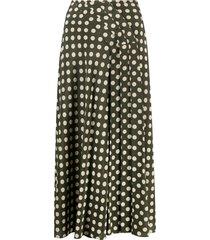 aspesi polka dot silk skirt - green