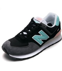 tenis lifestyle negro-gris-verde new balance classics traditonnels 574