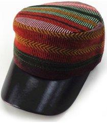 cappello invernale da donna stile invernale in voga in cotone e cotone cappello a righe piatte stile militare