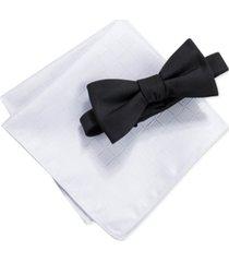 ryan seacrest distinction men's norton solid pre-tied bow tie & tonal check pocket square set, created for macy's