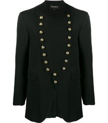 ann demeulemeester military style fitted jacket - black