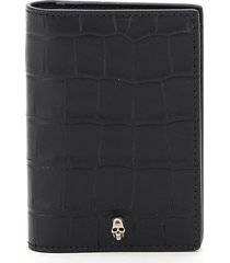alexander mcqueen crocodile print bi-fold card holder