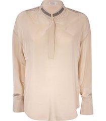 brunello cucinelli round collar blouse