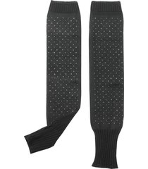 julia cocco' designer women's gloves, black knitted arm warmers long fingerless gloves w/thumb hole