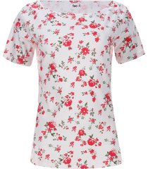 camiseta cuello barco flores color blanco, talla 10