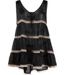 kiki de montparnasse tiered lace-trim babydoll dress - black
