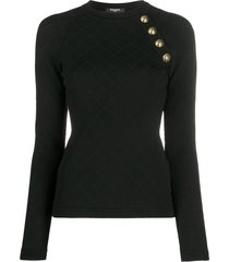 balmain quilted button-embellished knitted top - black