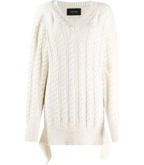 simone rocha cable-knit pearl pullover - white