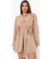 oversized blazer jurk met wijde mouwen, camel