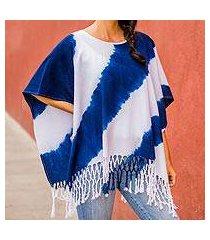 cotton poncho, 'daring indigo' (el salvador)