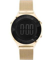 relógio technos crystal digital 4p 40mm aço feminino