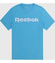 camiseta azul-blanco reebok graphic series linear