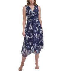 jessica howard plus size printed handkerchief-hem dress