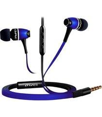 audífonos bluetooth manos llibres, awei 80vi auriculares de metal en el oído auriculares estéreo (azul)