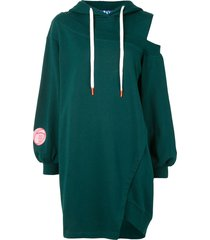 sjyp one shoulder hoodie dress - green