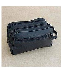 leather travel bag, 'black sophisticated style' (brazil)