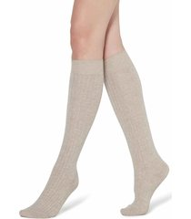 calzedonia - long ribbed socks with cotton and cashmere, 36-38, nude, women