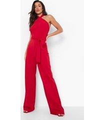 wide leg jumpsuit met halter neck en ceintuur, red