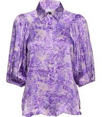 heavy satin blouse lange mouwen paars ganni