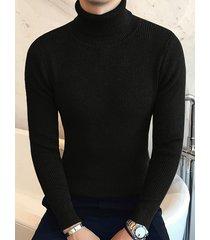 hombres otoño e invierno nuevo color puro delgado suéter de punto alto cuello