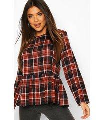 flannel long sleeved smock top, rust