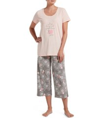 hue women's great love capri pajama set