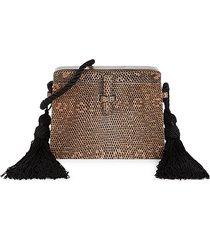 hunting season women's mini trunk lizard leather crossbody bag - taupe