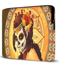 capa para notebook caveira mexicana 15 polegadas - amarelo - feminino - dafiti
