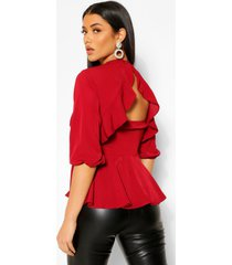 geweven peplum top met open rug met franjes, berry