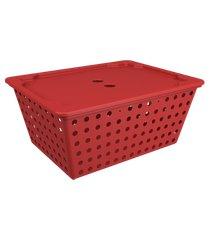 cesta one maxi com tampa 39 x 30 x 16,8 cm vermelho bold coza vermelho