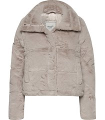 anf womens outerwear outerwear faux fur beige abercrombie & fitch