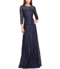 tahari asl embellished lace gown