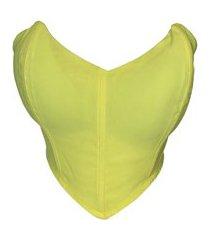 top cropped corselete tomara que caia amarelo