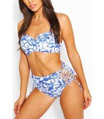 delftsblauwe bikini met hoge taille en beugel, blauw