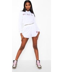 vlinder sweater met capuchon en shorts set, white