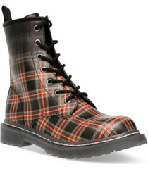 wild pair ryyder lace-up lug sole combat booties, created for macy's women's shoes